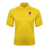 Gold Textured Saddle Shoulder Polo-Vertical Logomark w/Letters