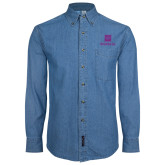 Denim Shirt Long Sleeve-Vertical Logomark w/Text