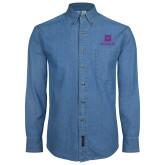 Denim Shirt Long Sleeve-Vertical Logomark w/Text