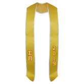 2018 Gold Graduation Stole w/White Trim-Tackle Twill Stacked Greek Letters