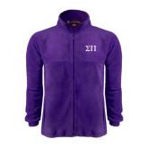 Fleece Full Zip Purple Jacket-Greek Letters