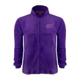Fleece Full Zip Purple Jacket-Greek Letters Two Tone