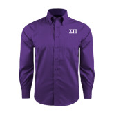 Red House Purple Long Sleeve Shirt-Greek Letters