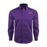Red House Purple Long Sleeve Shirt-Greek Letters Two Tone