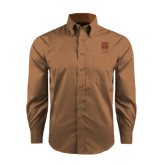 Red House Tan Long Sleeve Shirt-Vertical Logomark w/Letters
