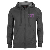 Charcoal Fleece Full Zip Hoodie-Greek Letters Two Tone
