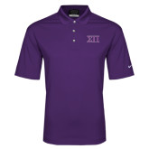 Nike Golf Dri Fit Purple Micro Pique Polo-Greek Letters Two Tone
