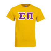 Gold T Shirt-Tackle Twill Greek Letters