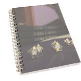 Clear 7 x 10 Spiral Journal Notebook-Sigma Pi Badges Image