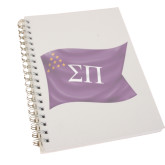Clear 7 x 10 Spiral Journal Notebook-Sigma Pi Waving Flag Image