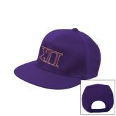 Purple Twill Flat Bill Snapback Hat-Greek Letters Two Tone