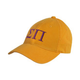 Gold Twill Unstructured Low Profile Hat-Greek Letters