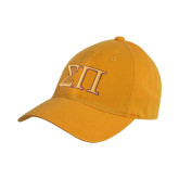Gold Twill Unstructured Low Profile Hat-Greek Letters Two Tone