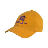 Gold Twill Unstructured Low Profile Hat-Vertical Logomark w/Text
