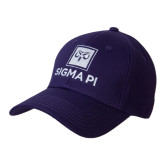Purple Heavyweight Twill Pro Style Hat-Vertical Logomark w/Text