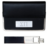 Business Card Case and Key Ring Set Black-Greek Letters Engraved