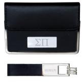 Business Card Case and Key Ring Set Black-Greek Letters Engraved