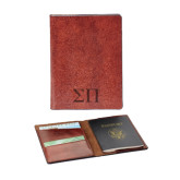 Fabrizio Brown RFID Passport Holder-Greek Letters Engraved