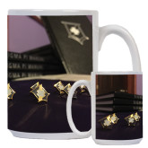 Full Color White Mug 15oz-Sigma Pi Badges Image