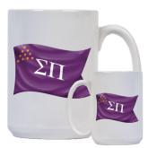 Full Color White Mug 15oz-Sigma Pi Waving Flag Image