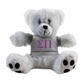 Plush Big Paw 8 1/2 inch White Bear w/Grey Shirt-Greek Letters