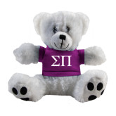 Plush Big Paw 8 1/2 inch White Bear w/Purple Shirt-Greek Letters