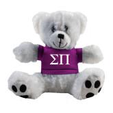 Plush Big Paw 8 1/2 inch White Bear w/Purple Shirt-Greek Letters