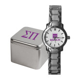 Ladies Stainless Steel Fashion Watch-Vertical Logomark w/Text