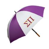 64 Inch Purple/White Umbrella-Greek Letters Two Tone