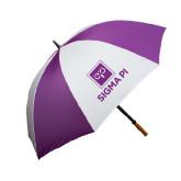 64 Inch Purple/White Umbrella-Vertical Logomark w/Text