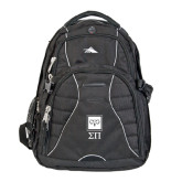 High Sierra Swerve Black Compu Backpack-Vertical Logomark w/Letters
