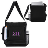Impact Vertical Black Computer Messenger Bag-Greek Letters Two Tone