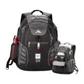 High Sierra Big Wig Black Compu Backpack-Vertical Logomark w/Letters