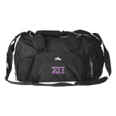 High Sierra Black Switch Blade Duffel-Greek Letters Two Tone