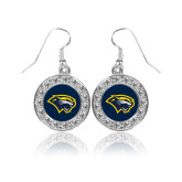 Crystal Studded Round Pendant Silver Dangle Earrings-Cougar Head