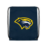 Navy Drawstring Backpack-Cougar Head