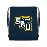 Navy Drawstring Backpack-SAU stepped with Cougar Head