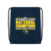Navy Drawstring Backpack-Cougar Womens Soccer Champions