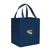 Non Woven Navy Grocery Tote-SAU stepped with Cougar Head