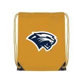 Gold Drawstring Backpack-Cougar Head