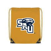 Gold Drawstring Backpack-SAU stepped with Cougar Head