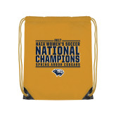 Gold Drawstring Backpack-Cougar Womens Soccer Champions