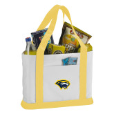 Contender White/Gold Canvas Tote-Cougar Head
