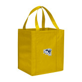 Non Woven Gold Grocery Tote-SAU stepped with Cougar Head