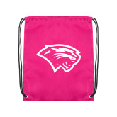 Pink Drawstring Backpack-Cougar Head
