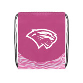 Nylon Zebra Pink/White Patterned Drawstring Backpack-Cougar Head