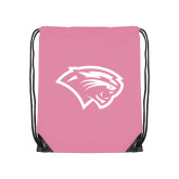 Light Pink Drawstring Backpack-Cougar Head