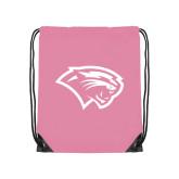 Light Pink Drawstring Backpack-Cougar Head