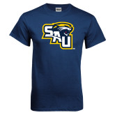 Navy T Shirt-SAU stepped with Cougar Head
