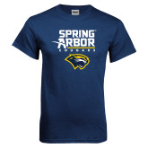 Navy T Shirt-Spring Arbor Cougars Satacked with Head